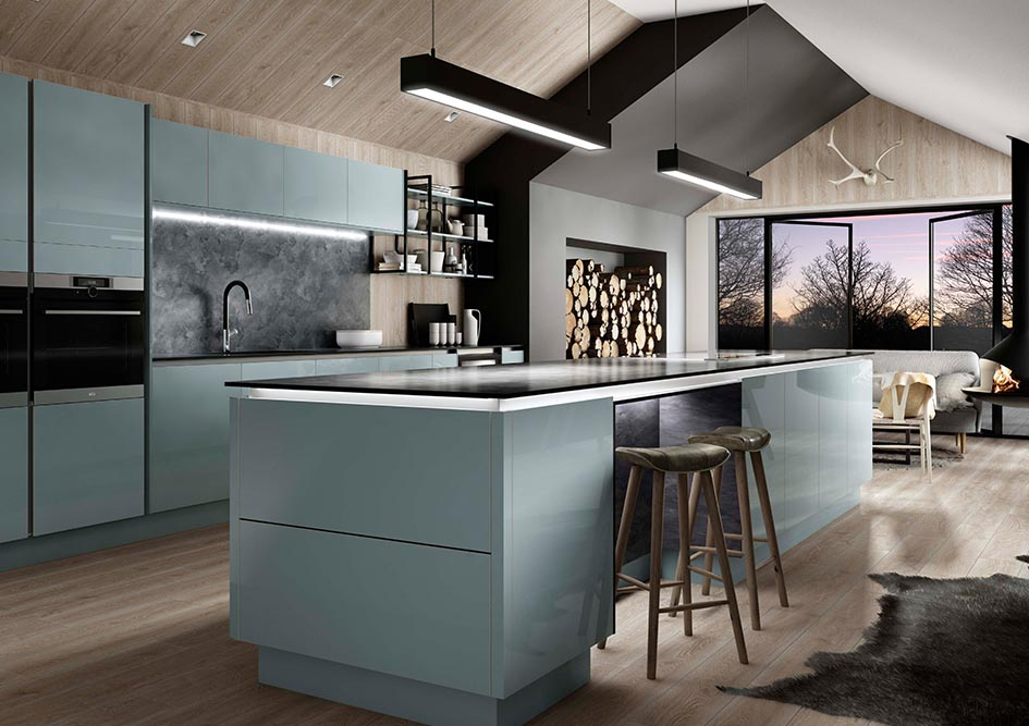 Blue Gloss Handleless Galley