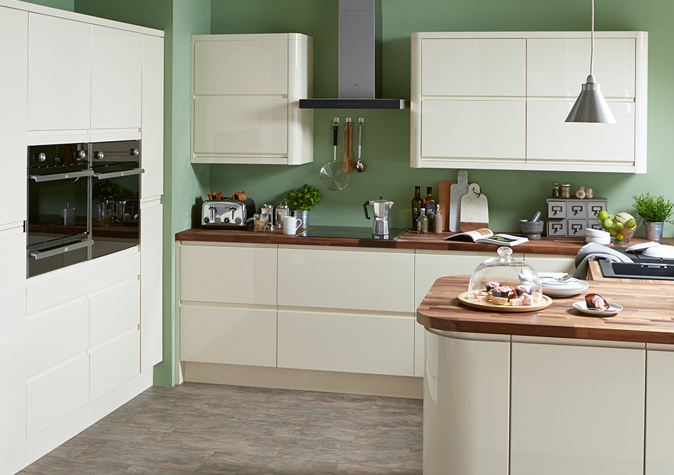 Cream Gloss Handleless Galley