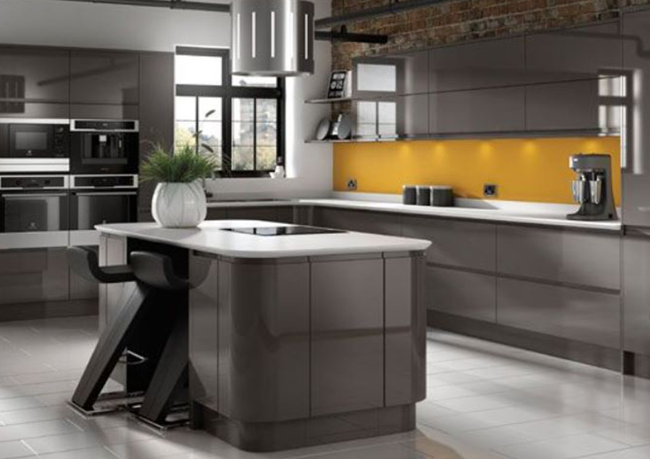Dark Grey Gloss Handleless Galley