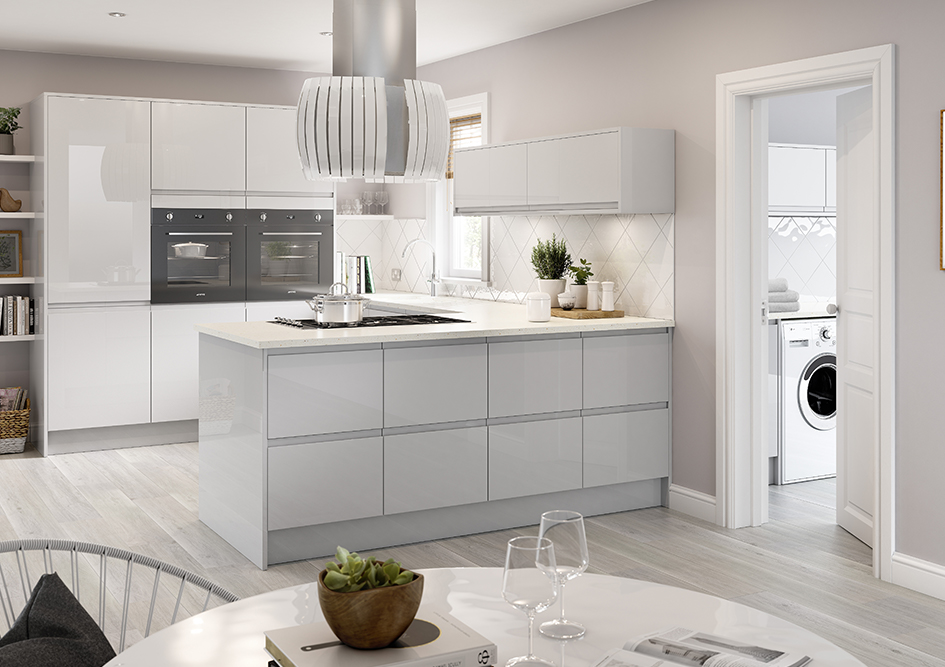 Light Grey Gloss Handleless Galley