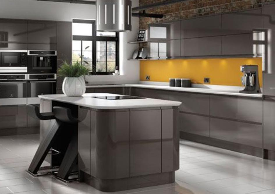 Dark Grey Gloss Handleless L-Shape